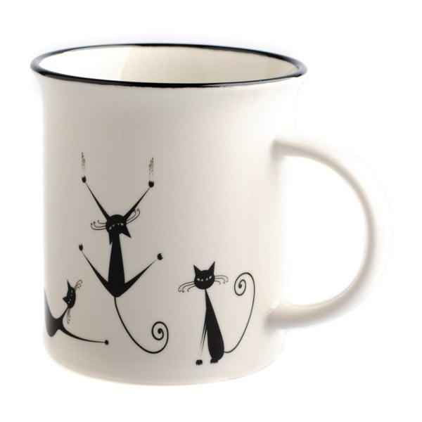Kubek porcelanowy Dakls Cats Nero, 310 ml