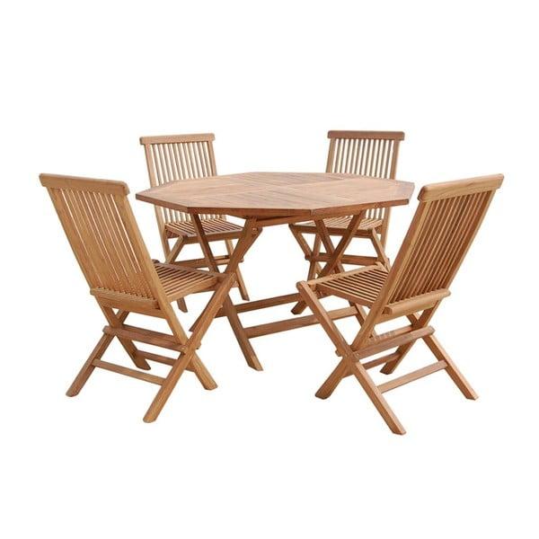 Zahradní stůl a 4 židle Sevilla Natural