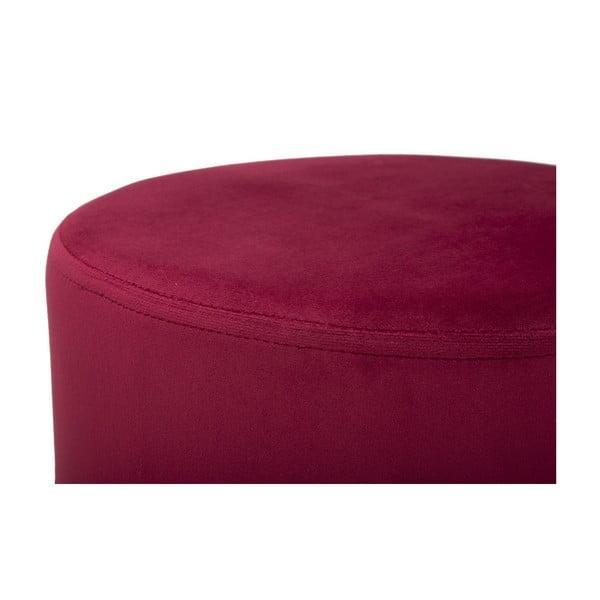 Vínově červený puf s železnými nohami ve zlaté barvě Mauro Ferretti Rotondo