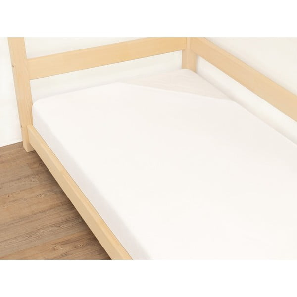 Białe prześcieradło bawełniane Benlemi Jersey, 90x200 cm