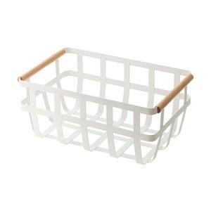 Bílý košík s detailem z bukového dřeva YAMAZAKI Tosca