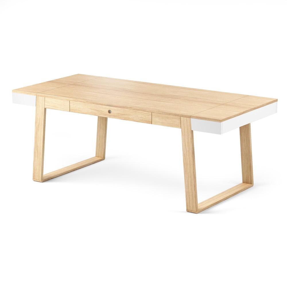 Jídelní stůl z dubového dřeva s bílými detaily Absynth Magh, 198 x 100 cm