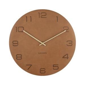 Koňakově hnědé nástěnné hodiny Karlsson Vigorous, ⌀40 cm