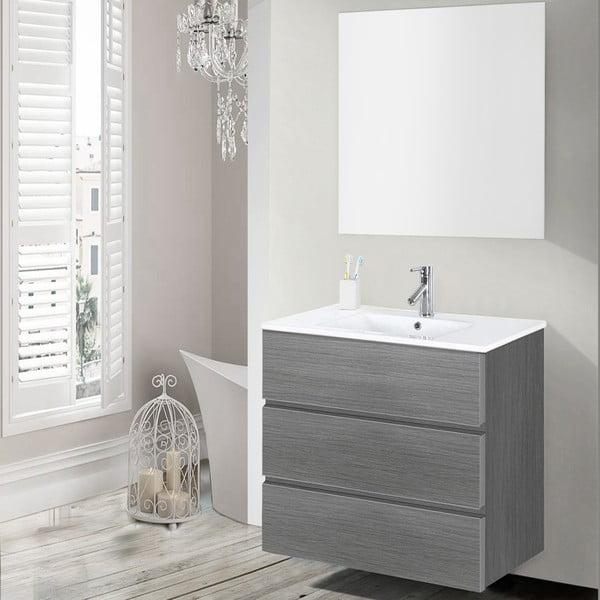 Koupelnová skříňka s umyvadlem a zrcadlem Nayade, odstín šedé, 70 cm
