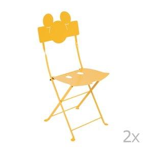 Sada 2 žlutých kovových zahradních židlí Fermob Bistro Mickey