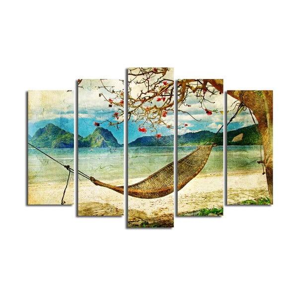 Tablou din mai multe piese Hammock, 105 x 70 cm
