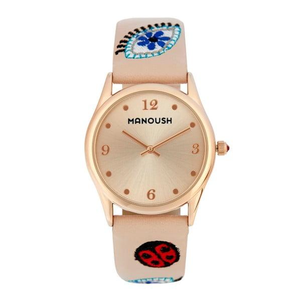 Dámské hodinky béžové barvy s koženým páskem Manoush Ladybird