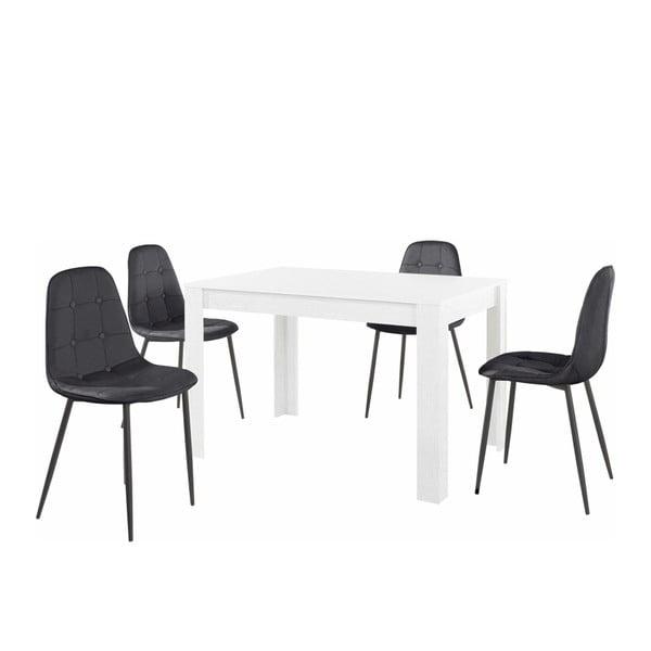 Set bílého jídelního stolu a 4 černých jídelních židlí Støraa Lori Lamar