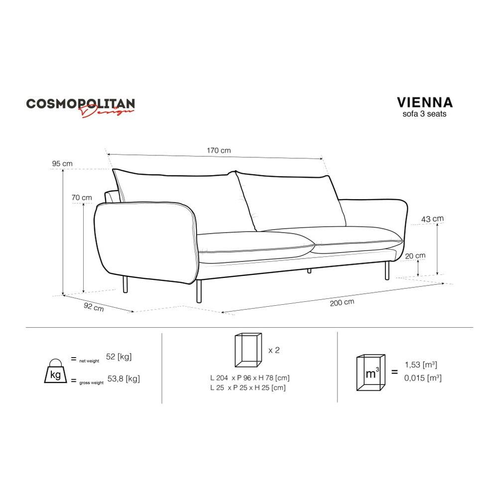 Produktové foto Světle šedá sametová pohovka Cosmopolitan Design Vienna, 200 cm