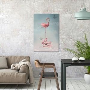 Obraz na plátně OrangeWallz Flamingo, 60 x 90 cm