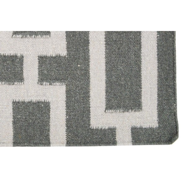 Ručně tkaný koberec Grey Squares Kilim, 155x230 cm