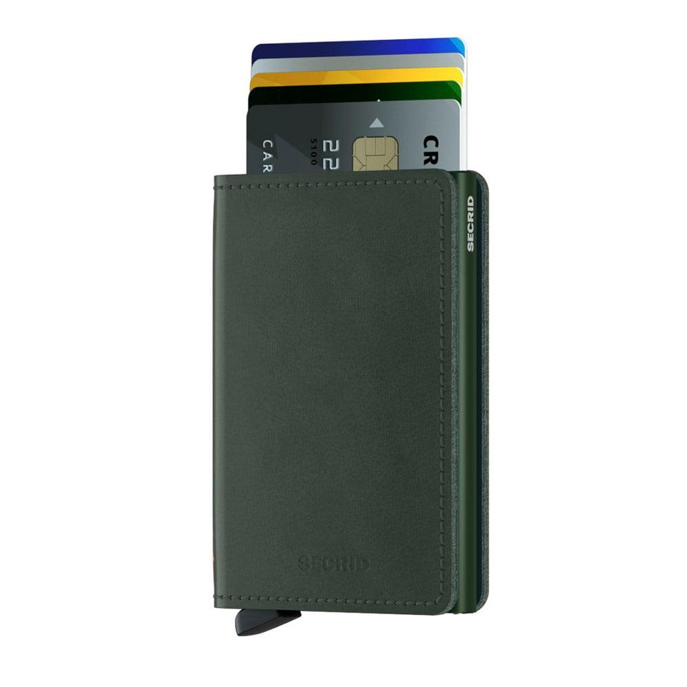 Zelená kožená peněženka s pouzdrem na karty Secrid Slim