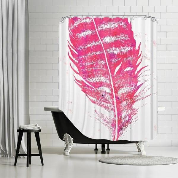 Koupelnový závěs Pink Feather, 180x180 cm