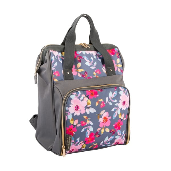 Sivý kvetovaný chladiaci batoh s piknikovým vybavením pre 2 osoby Navigate Grey Floral, 15 l