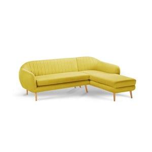 Žlutá trojmístná pohovka Scandi by Stella Cadente Maison Comete, pravý roh