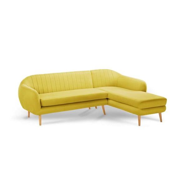 Žltá trojmiestna pohovka Scandi by Stella Cadente Maison Comete, pravý roh