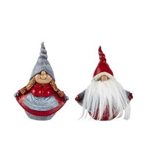 Sada 2 dekorativních vánočních sošek KJ Collection Dwarfy, výška 12,5 cm
