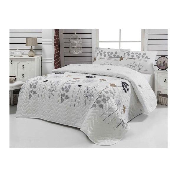 Biała lekka narzuta pikowana na łóżko 1-osobowe z poszewką na poduszkę Atlantis, 160x220 cm