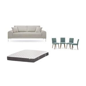 Set třímístné krémové pohovky, 4šedozelených židlí a matrace 160 x 200 cm Home Essentials