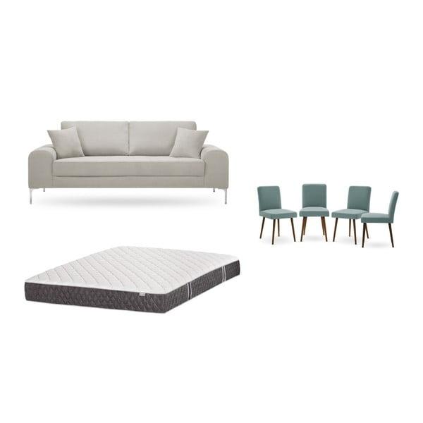Set canapea crem cu 3 locuri, 4 scaune gri-verde, o saltea 160 x 200 cm Home Essentials