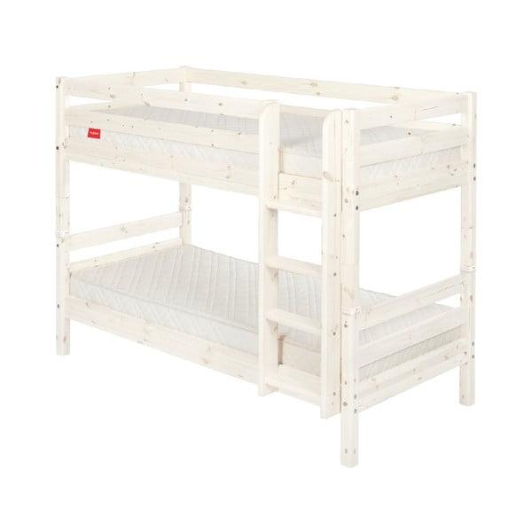 Białe dziecięce łóżko piętrowe z drewna sosnowego Flexa Classic, 90x200 cm