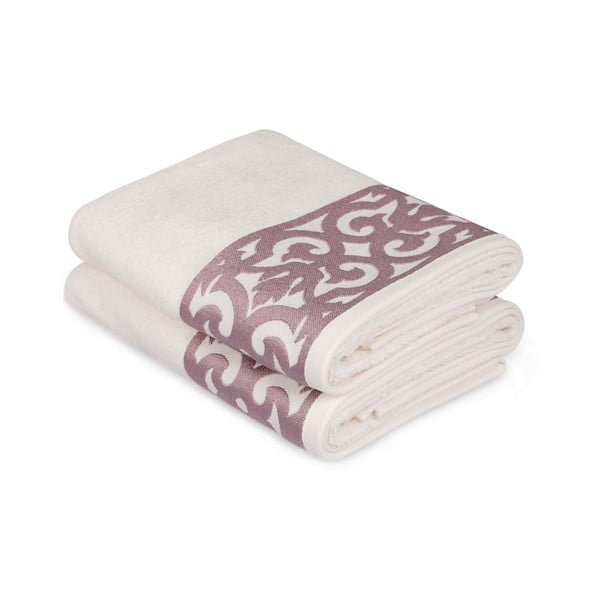 Sada 2 bílých ručníků na ruce s růžovým lemováním Grace