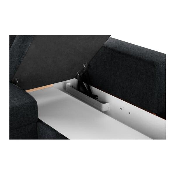 Černá rohová rozkládací pohovka s úložným prostorem INTERIEUR DE FAMILLE PARIS Bijou, pravý roh
