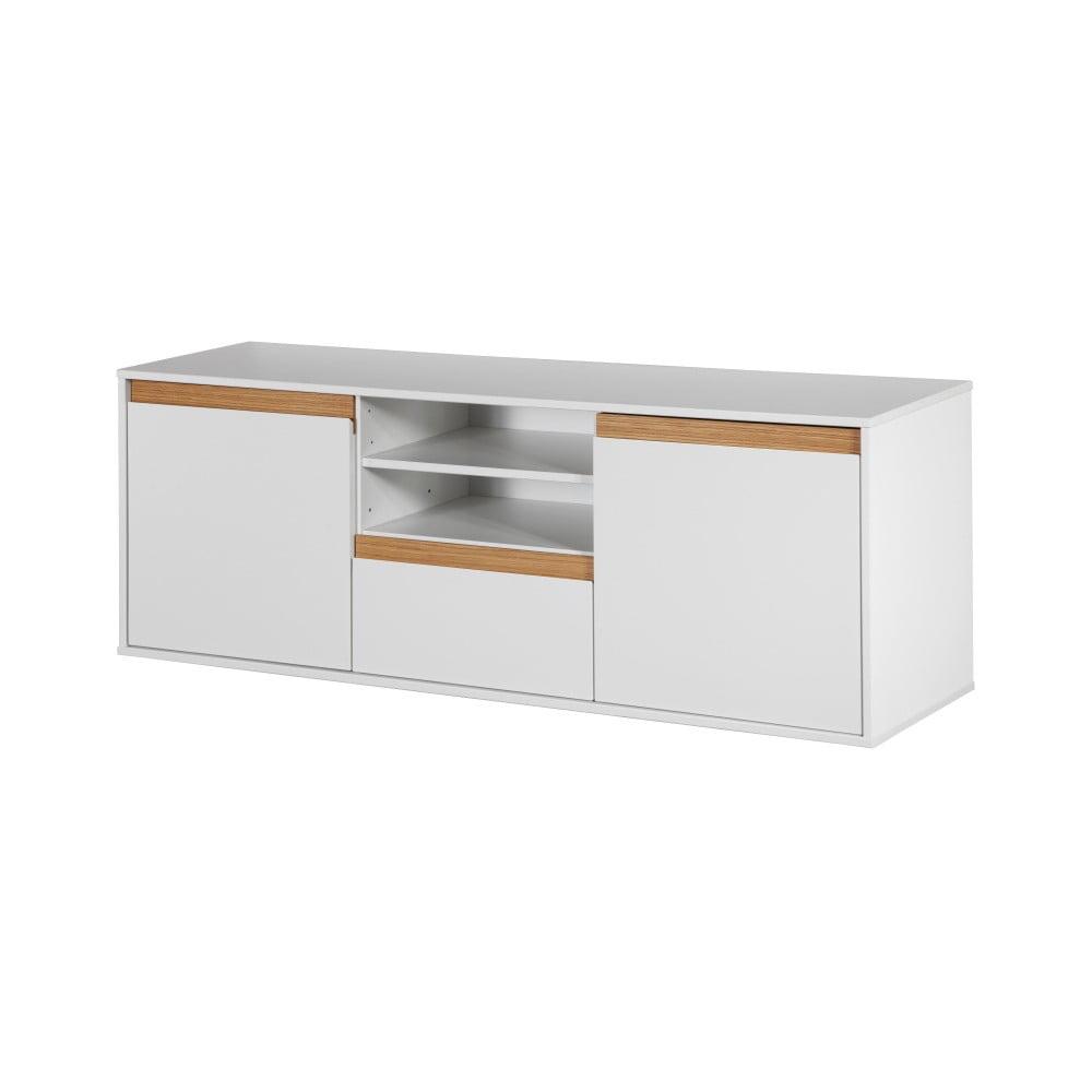 Bílá nástěnná komoda s dřevěnými detaily Dřevotvar Ontur12