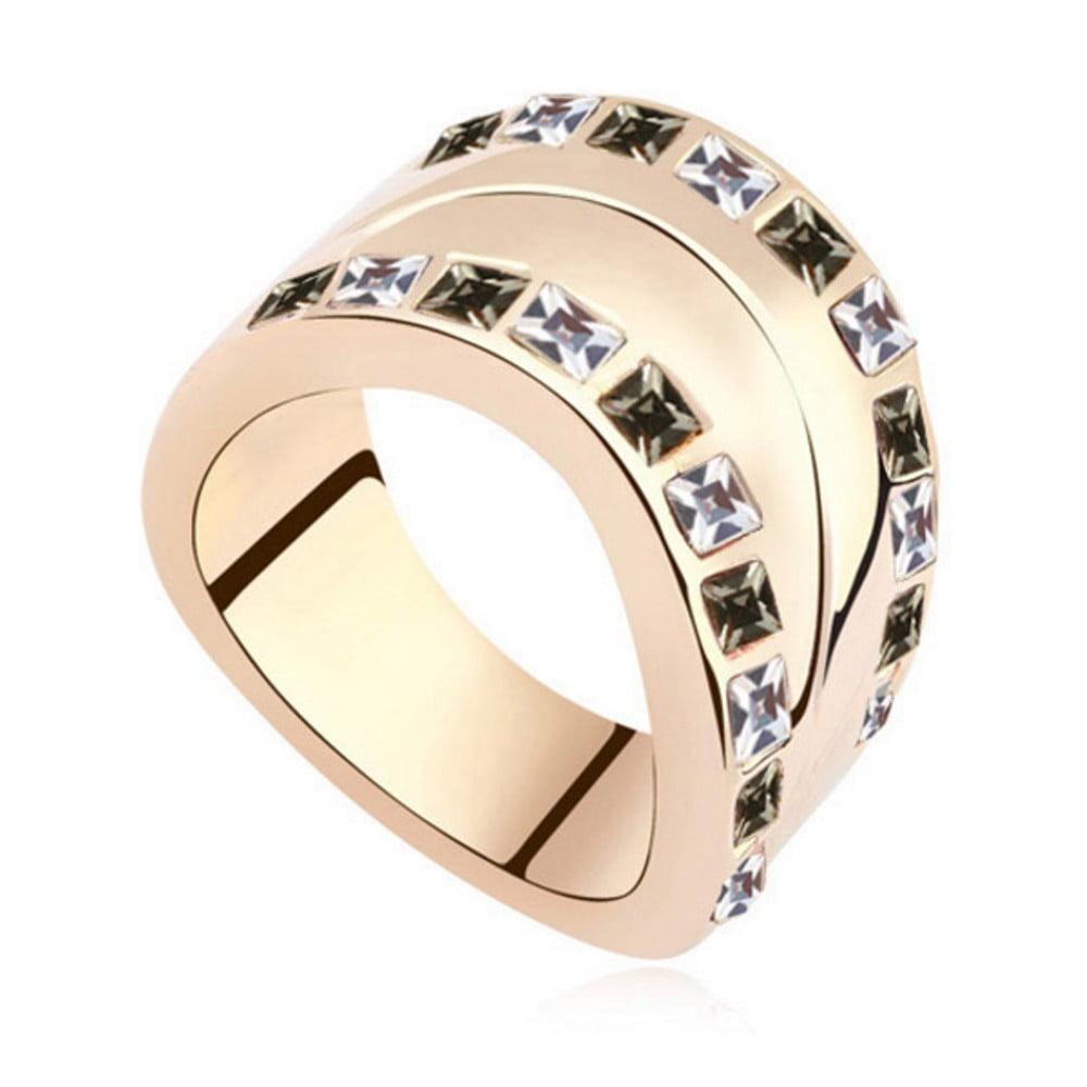 Pozlacený prsten s krystaly Swarovski Josephine, velikost 52