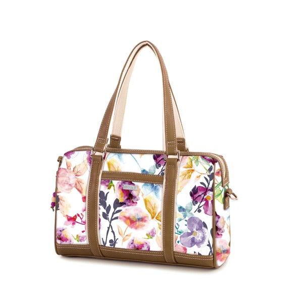 Bílá kabelka s barevnými květy SKPA-T, 30 x 19 cm