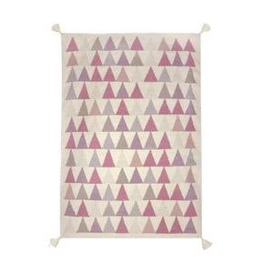 Ručně tkaný vlněný koberec s růžovými detaily Art For Kids Triangles, 110x160cm