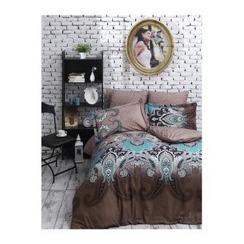 Lenjerie de pat din bumbac satinat și cearșaf Jessica Brown, 200 x 220 cm de la Unknown