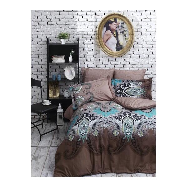 Lenjerie de pat din bumbac satinat și cearșaf Jessica Brown, 200 x 220 cm