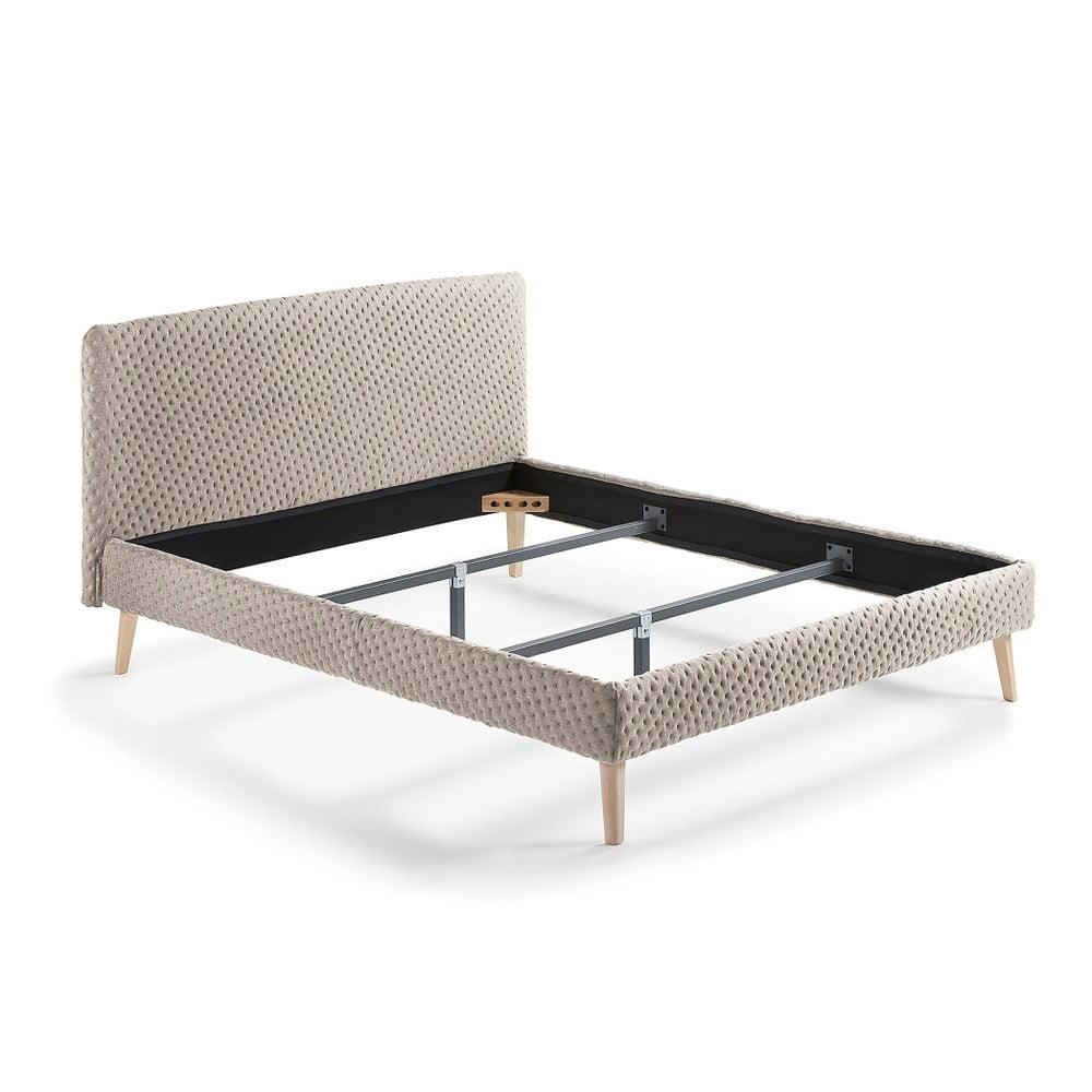 Béžová dvoulůžková čalouněná postel La Forma Lydia Dotted, 190x150cm