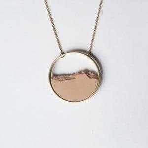 Colier auriu cu pandantiv roz somon Circle
