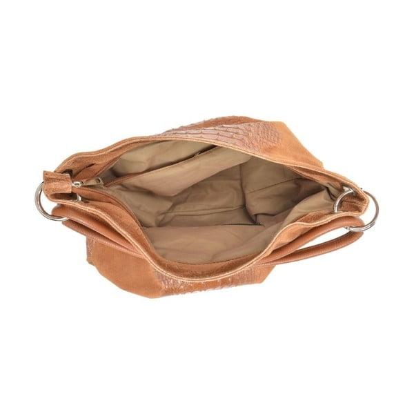 Koňakově hnědá kožená kabelka Luisa Vannini Zunna