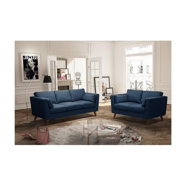 Sada džínově modré dvoumístné a trojmístné pohovky Jalouse Maison Elisa