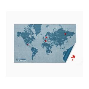 Modrá nástěnná mapa Palomar Pin World, 126x68cm