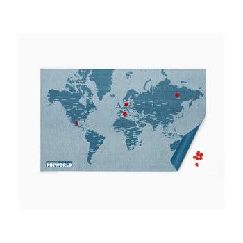 Hartă lumii, prindere de perete Palomar Pin World, 126 x 68 cm, albastru de la Palomar