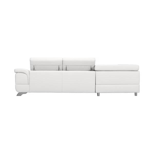 Bílá kožená rozkládací rohová pohovka Windsor & Co Sofas Gamma, levý roh