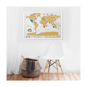 Seškrabávací mapa světa s rámem Luckies of London Original
