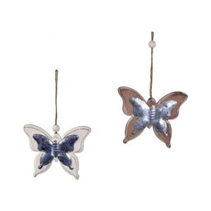 Sada 2 závěsných dekorací ve tvaru motýlů Ego Dekor, 11 x 9,5 cm