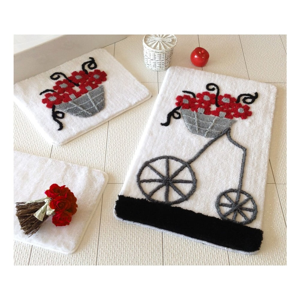 Sada tří koupelnových předložek s motivem květinového vozíku v červené, šedé a černé barvě Knit Knot