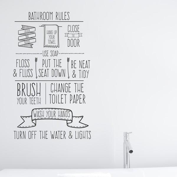 Vinylová samolepka na stěnu Bathroom Rules