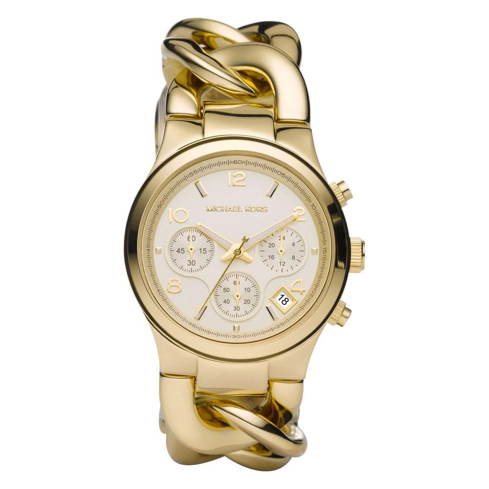 Dámské hodinky s růžovým koženým řemínkem s detaily ve zlaté barvě ... db3360e93b