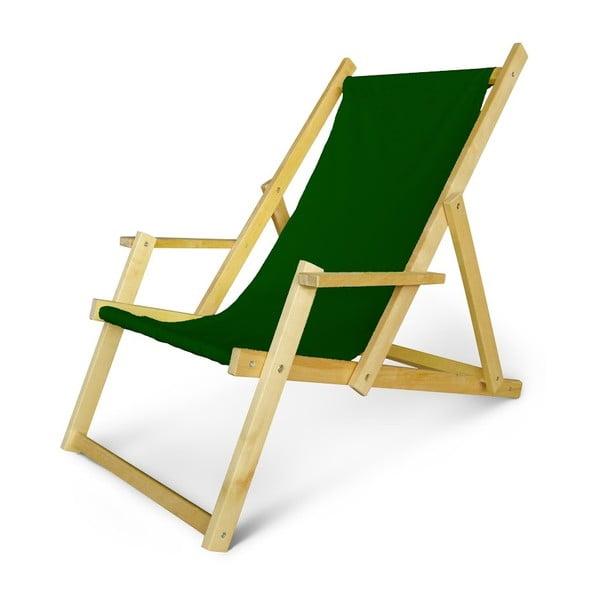 Dřevěné nastavitelné lehátko s područkami JustRest, lahvově zelené