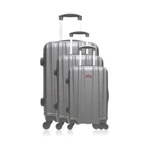 Sada 3 šedých cestovních kufrů na kolečkách 0+32
