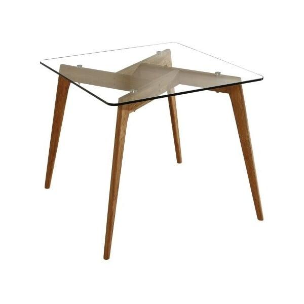Janis szögletes étkezőasztal barna lábakkal, 90 x 90 cm - Marckeric
