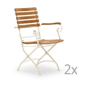 Sada 2 bílých zahradních židlí z akátového dřeva s područkami SOB
