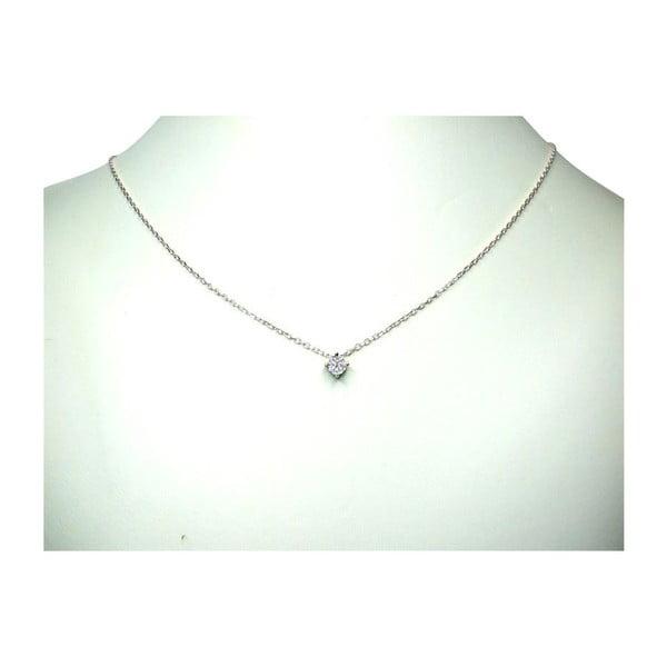 Náhrdelník s diamantem Four Prong, stříbrný